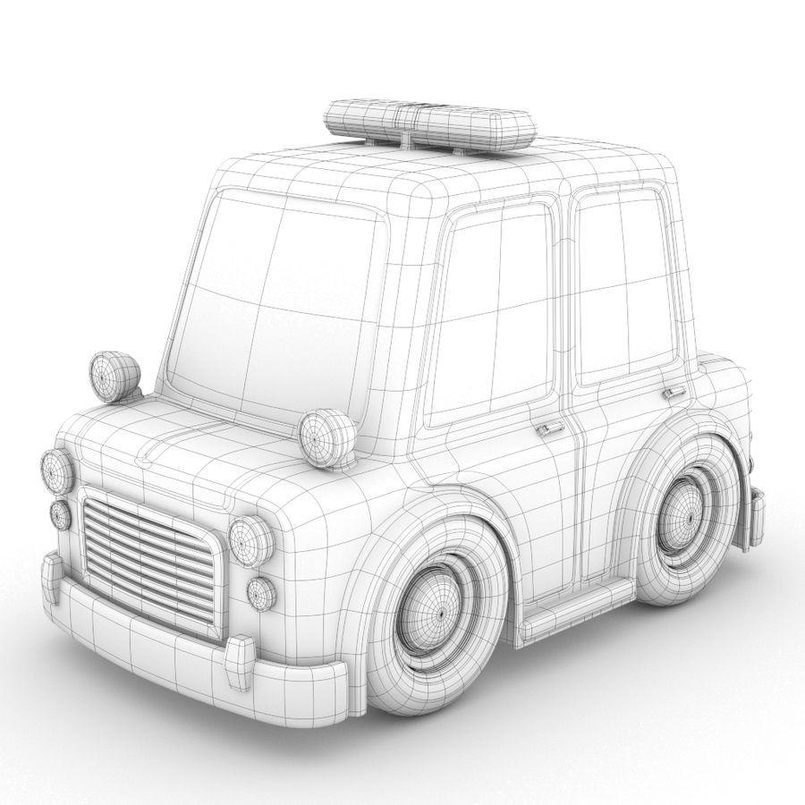 Cartoon Police Car royalty-free 3d model - Preview no. 2