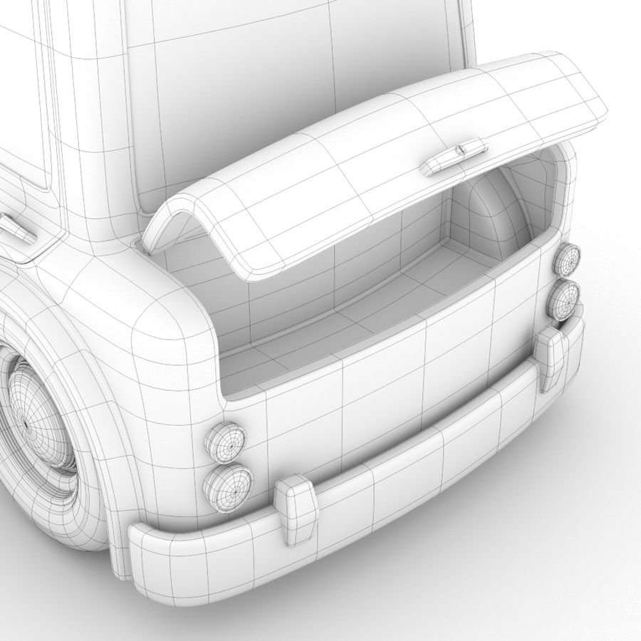 Cartoon Police Car royalty-free 3d model - Preview no. 8