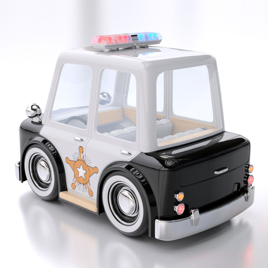 Cartoon Police Car royalty-free 3d model - Preview no. 3