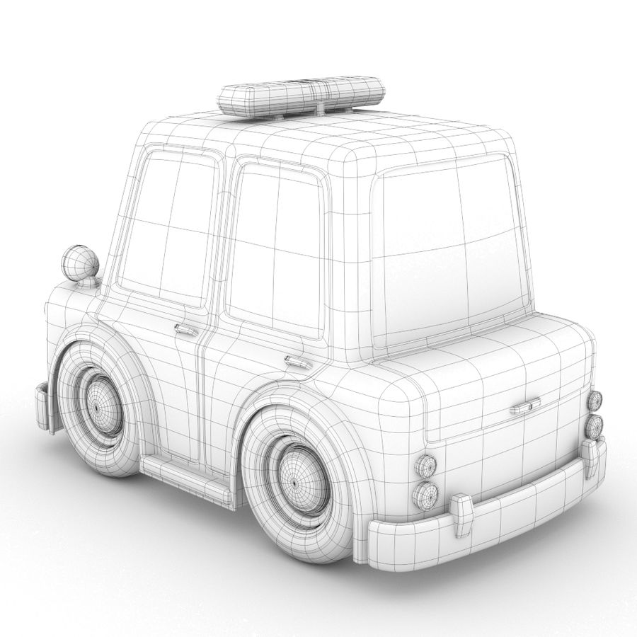 Cartoon Police Car royalty-free 3d model - Preview no. 4