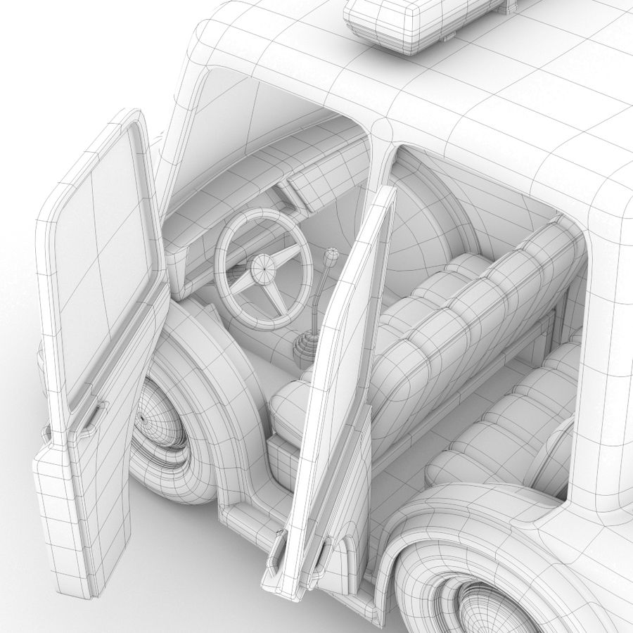 Kreskówka samochód policyjny royalty-free 3d model - Preview no. 6