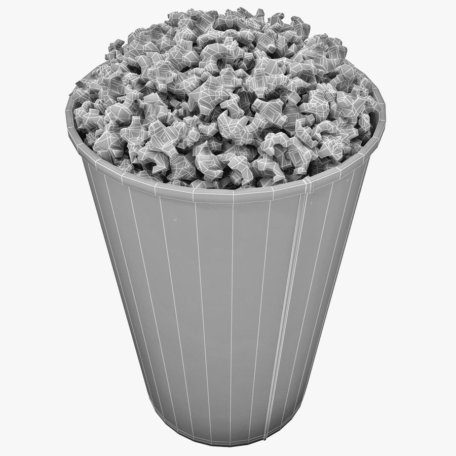 Popcorn Bowl royalty-free 3d model - Preview no. 7