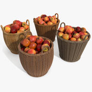 Wicker Apple Fruit Wood Basket (2) 3d model