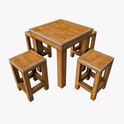 Kleine houten tafelset 3d model