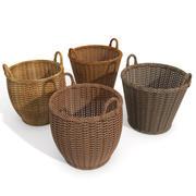 Wicker Wood Basket Set 3d model