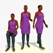 Low Poly African Woman A Bundle 3d model