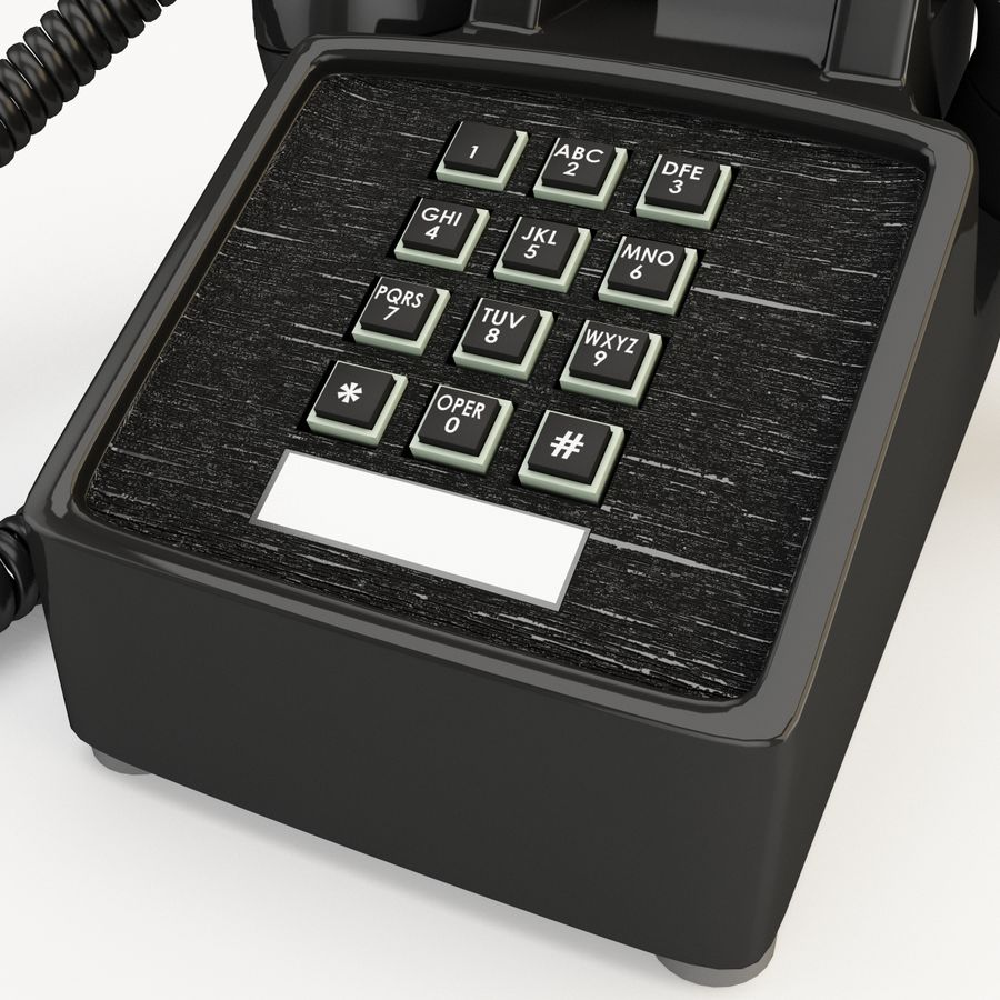 Traditional Retro Desk Corded Phone 2 royalty-free 3d model - Preview no. 11