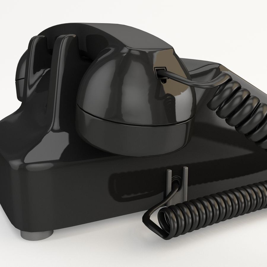 Traditional Retro Desk Corded Phone 2 royalty-free 3d model - Preview no. 10