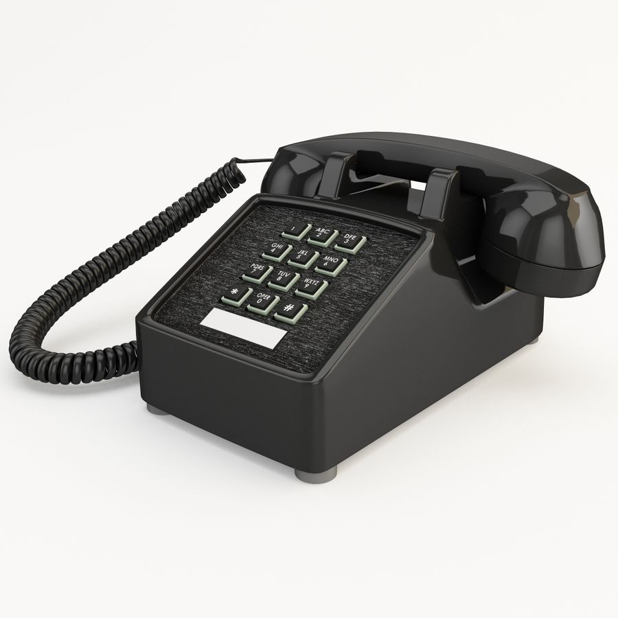 Traditional Retro Desk Corded Phone 2 royalty-free 3d model - Preview no. 3