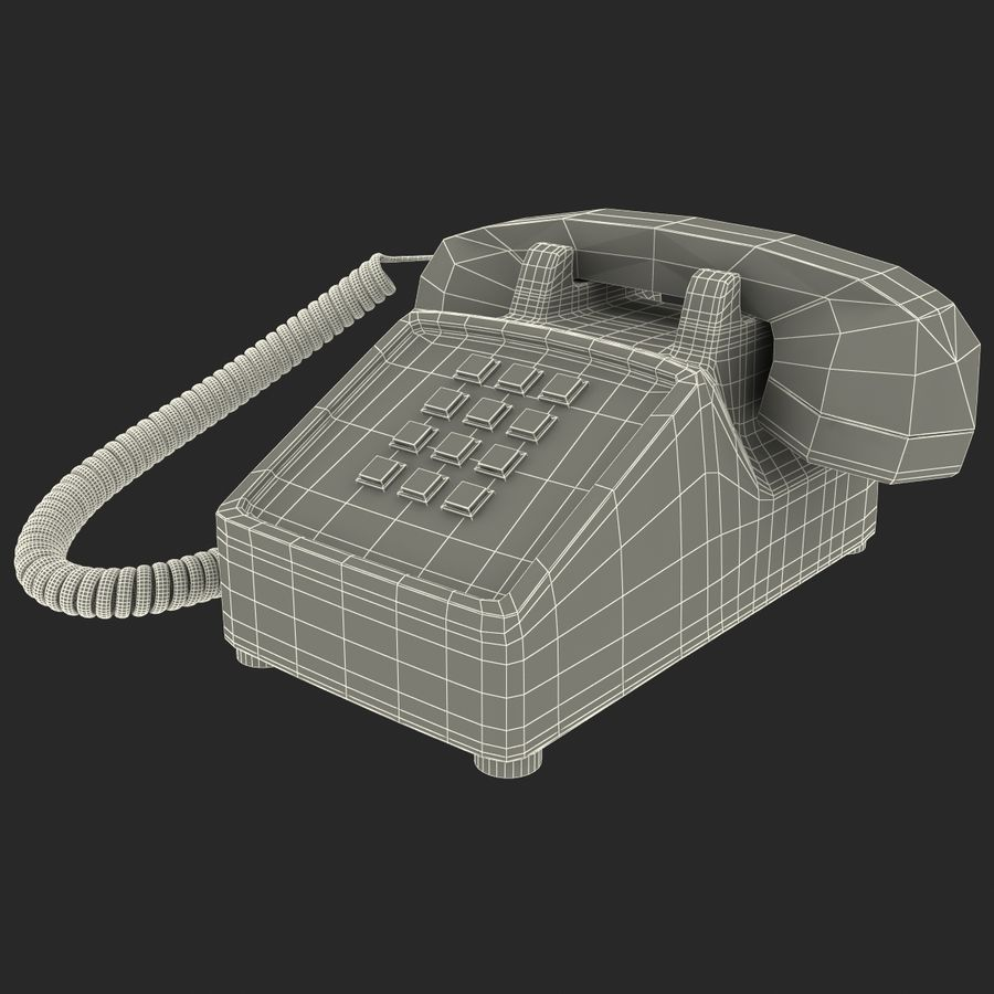 Traditional Retro Desk Corded Phone 2 royalty-free 3d model - Preview no. 14