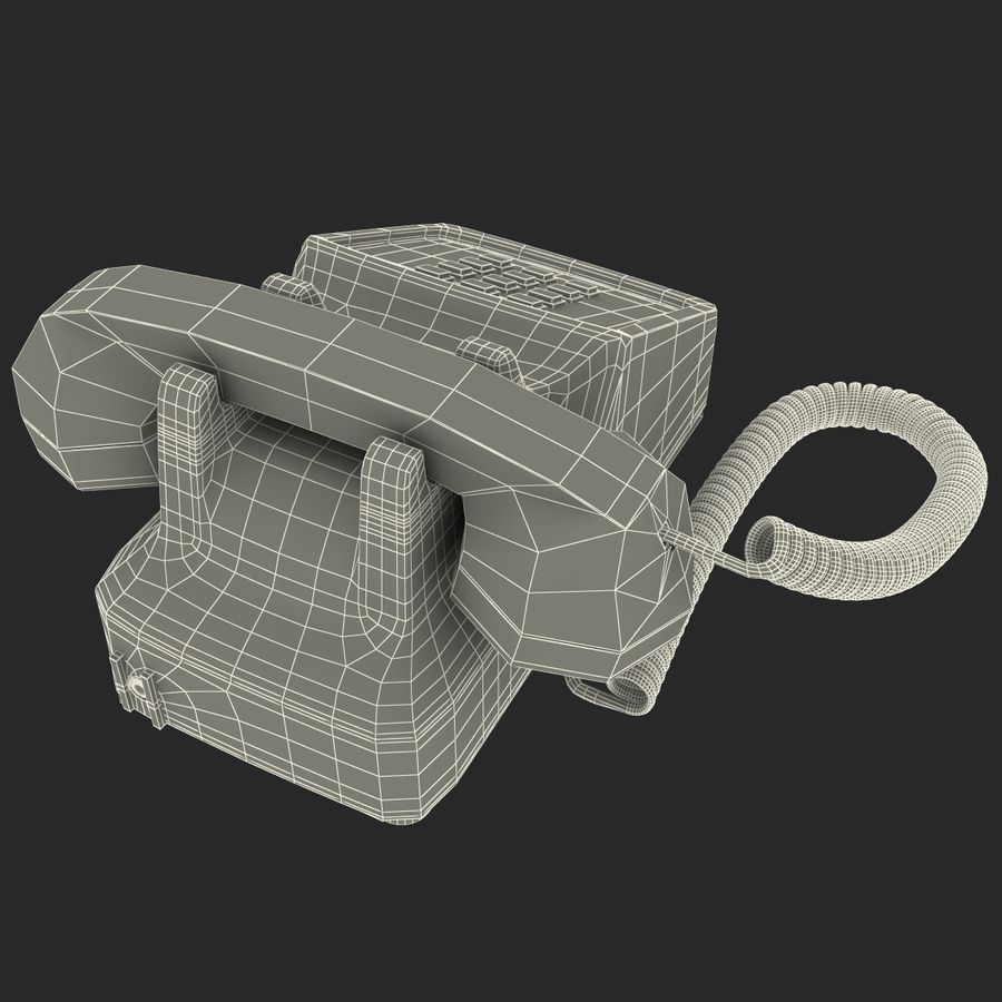 Traditional Retro Desk Corded Phone 2 royalty-free 3d model - Preview no. 20