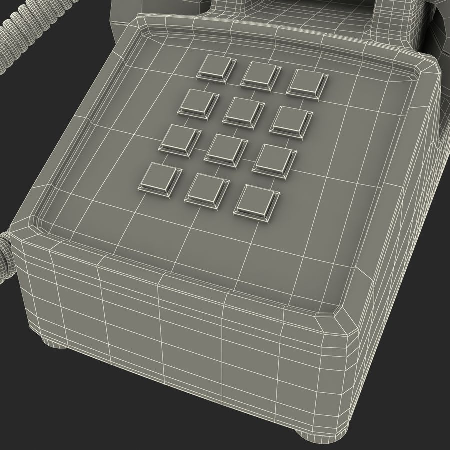 Traditional Retro Desk Corded Phone 2 royalty-free 3d model - Preview no. 22