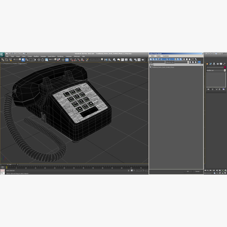Traditional Retro Desk Corded Phone 2 royalty-free 3d model - Preview no. 24