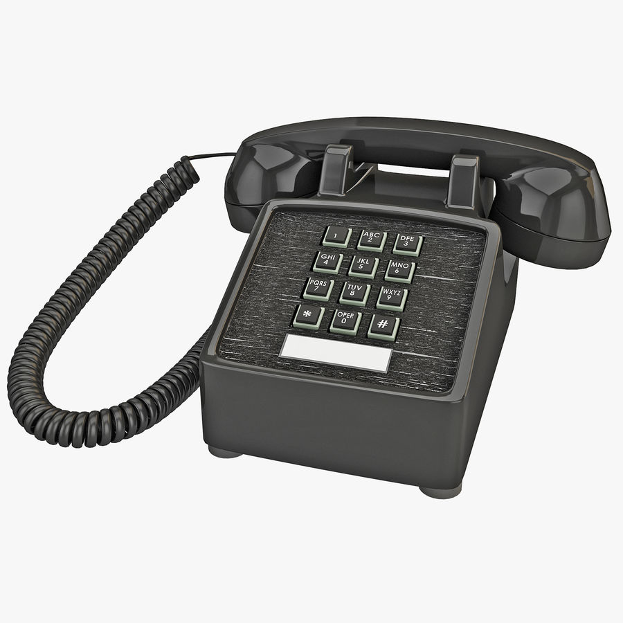 Traditional Retro Desk Corded Phone 2 royalty-free 3d model - Preview no. 1