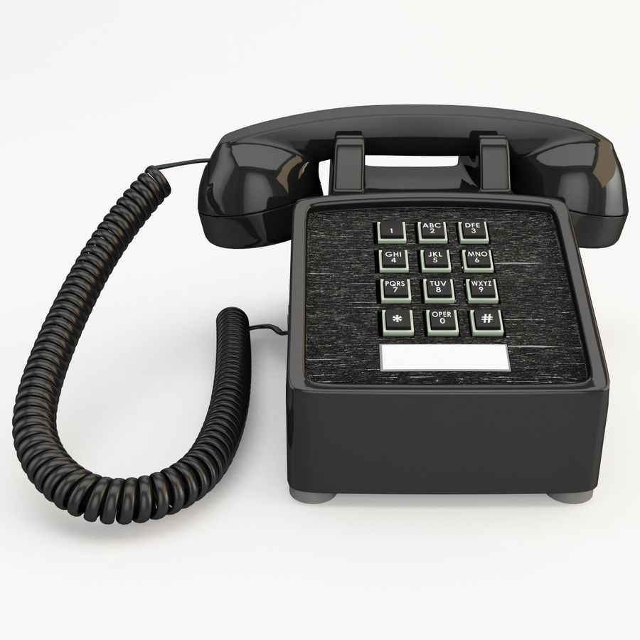 Traditional Retro Desk Corded Phone 2 royalty-free 3d model - Preview no. 4