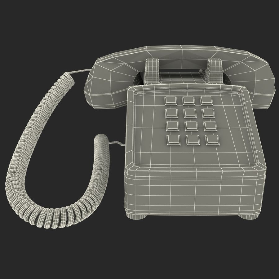 Traditional Retro Desk Corded Phone 2 royalty-free 3d model - Preview no. 15