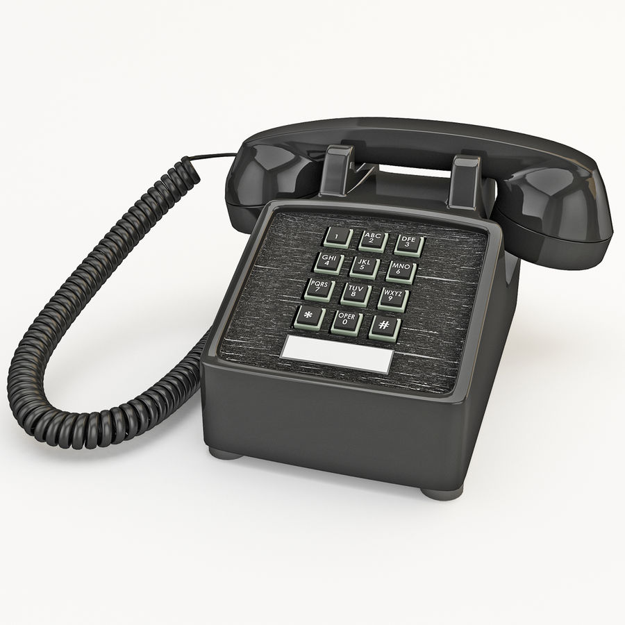 Traditional Retro Desk Corded Phone 2 royalty-free 3d model - Preview no. 2