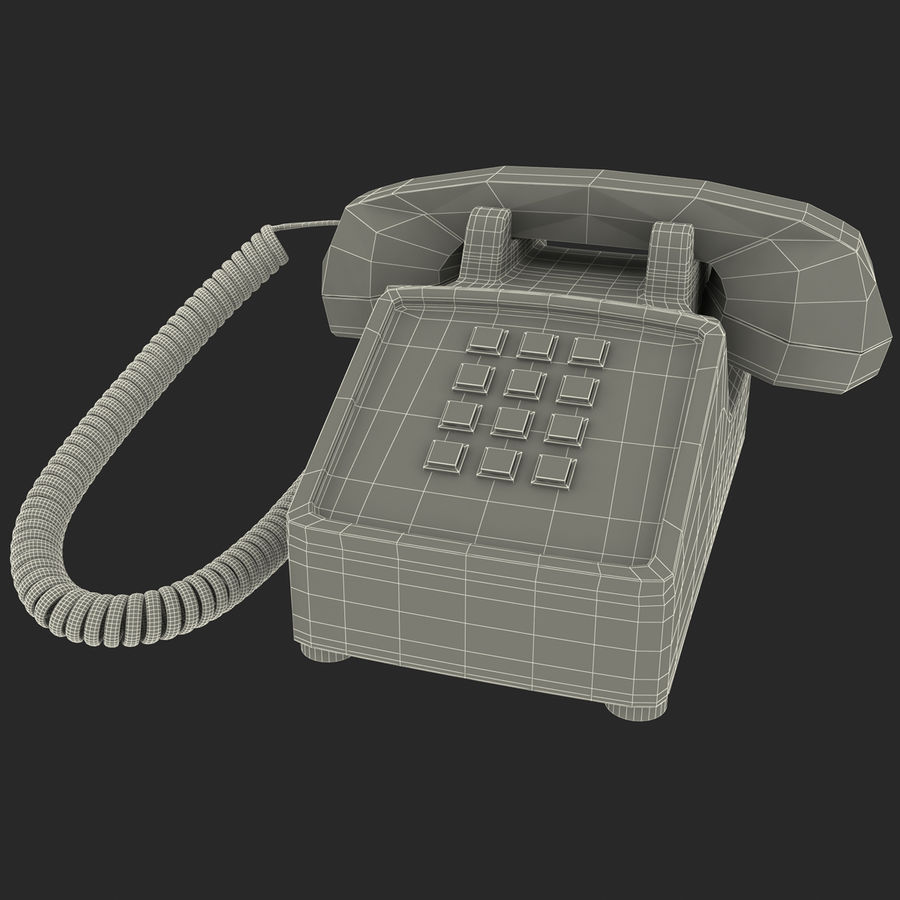Traditional Retro Desk Corded Phone 2 royalty-free 3d model - Preview no. 12