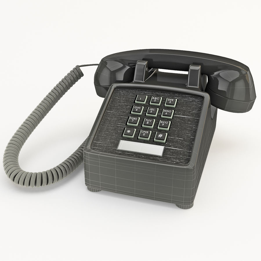 Traditional Retro Desk Corded Phone 2 royalty-free 3d model - Preview no. 13