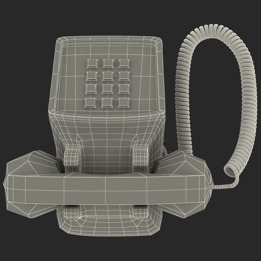 Traditional Retro Desk Corded Phone 2 royalty-free 3d model - Preview no. 19