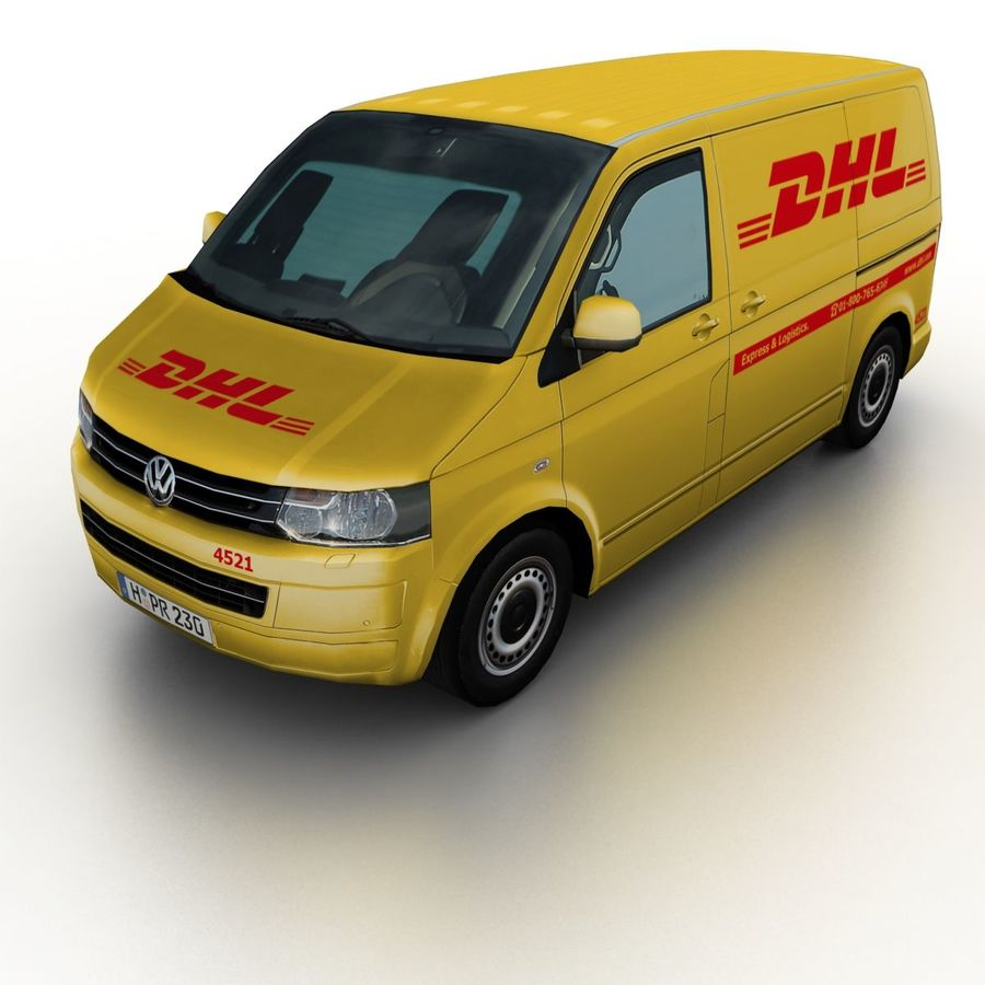 Volkswagen T5 Transporter DHL 2011 royalty-free 3d model - Preview no. 1