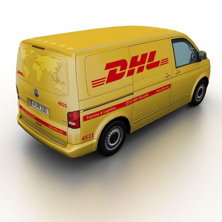 Volkswagen T5 Transporter DHL 2011 royalty-free 3d model - Preview no. 2