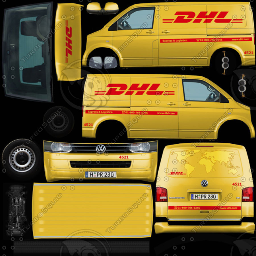 Volkswagen T5 Transporter DHL 2011 royalty-free 3d model - Preview no. 6