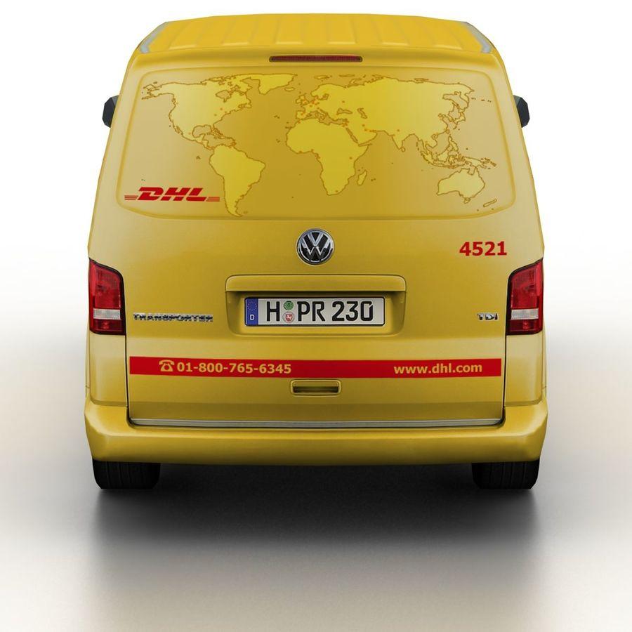 Volkswagen T5 Transporter DHL 2011 royalty-free 3d model - Preview no. 5