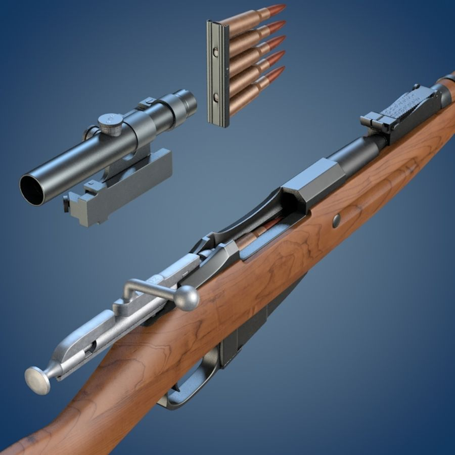 Kapsamlı Mosin tüfek royalty-free 3d model - Preview no. 6