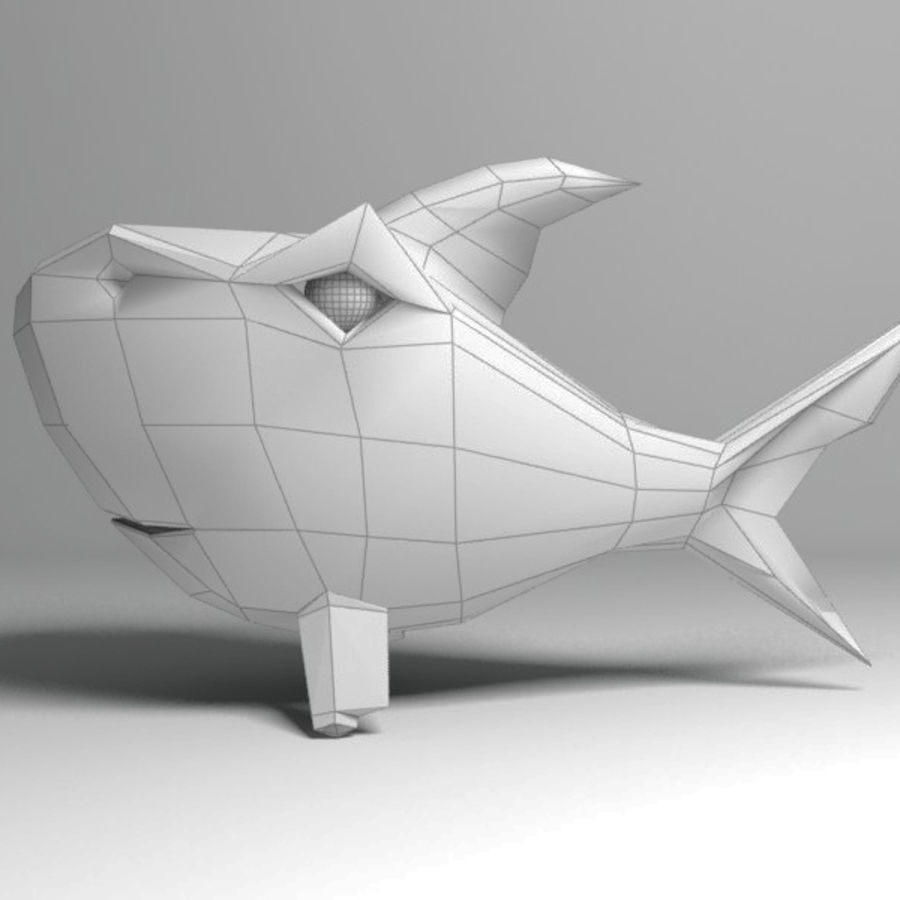 Chubby Shark Cartoon royalty-free 3d model - Preview no. 14