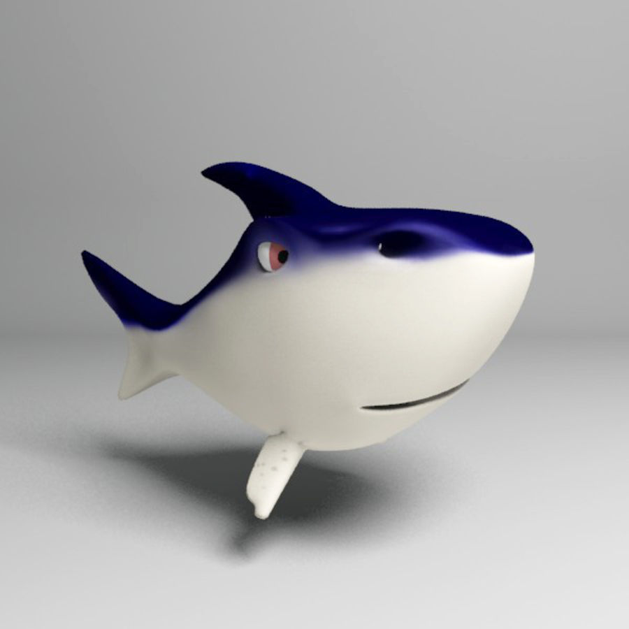 Chubby Shark Cartoon royalty-free 3d model - Preview no. 2