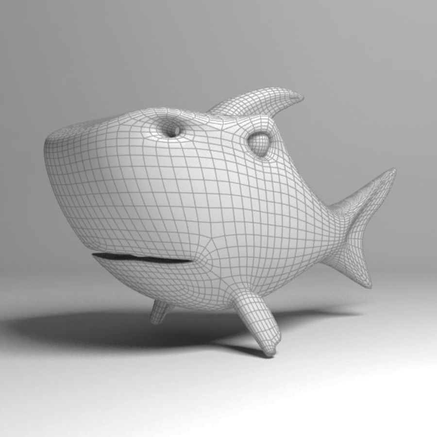 Chubby Shark Cartoon royalty-free 3d model - Preview no. 13