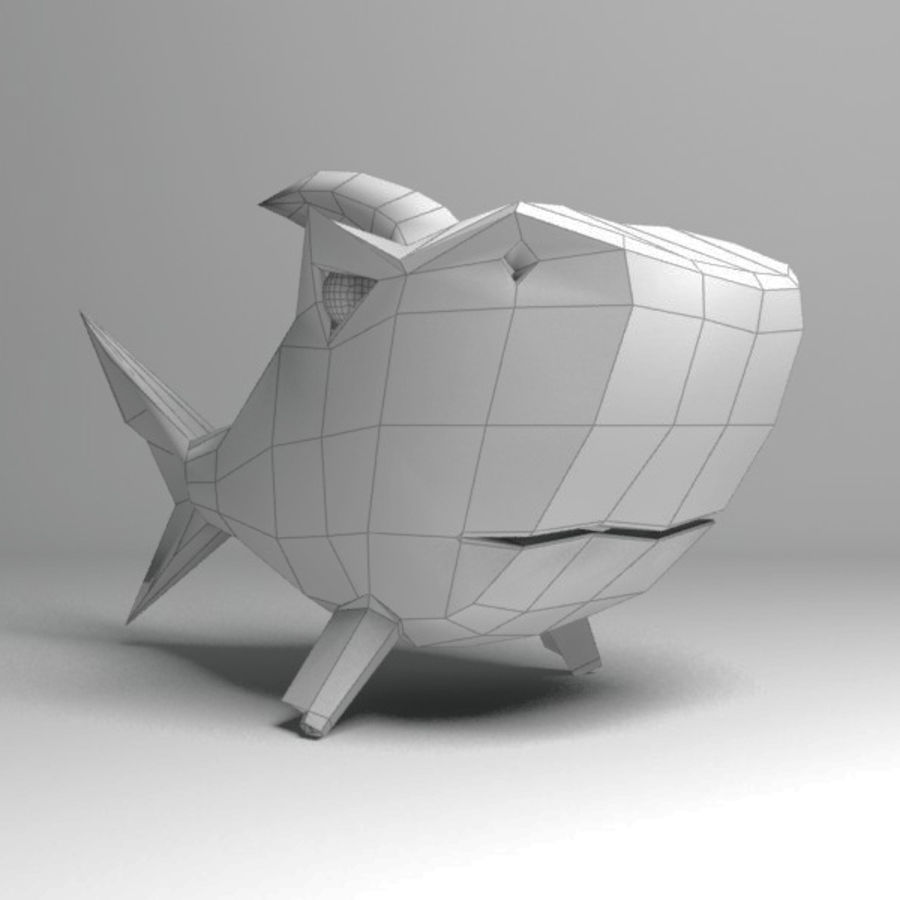 Chubby Shark Cartoon royalty-free 3d model - Preview no. 15