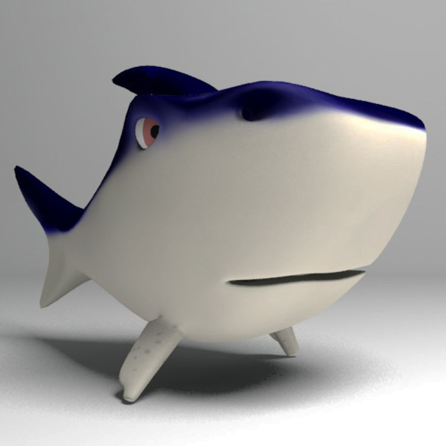 Chubby Shark Cartoon royalty-free 3d model - Preview no. 10