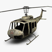 Damaged Bell UH-1 3d model