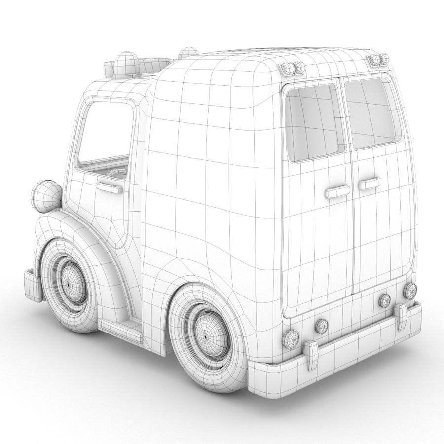 卡通救护车 royalty-free 3d model - Preview no. 3