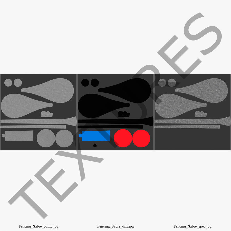 Fencing Sabre royalty-free 3d model - Preview no. 3