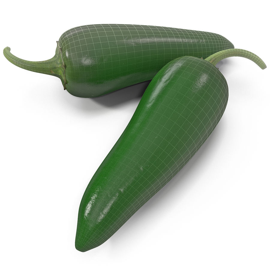 Jalapeno Pepper 2 royalty-free 3d model - Preview no. 2
