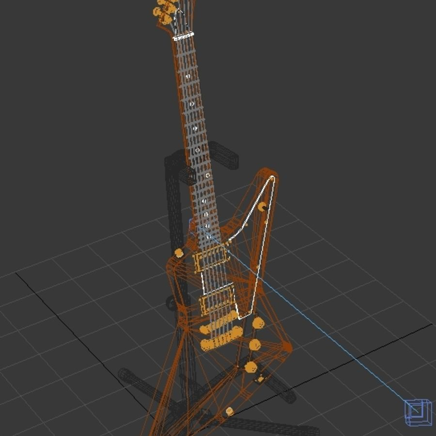 Epiphone Korina Explorer royalty-free 3d model - Preview no. 3