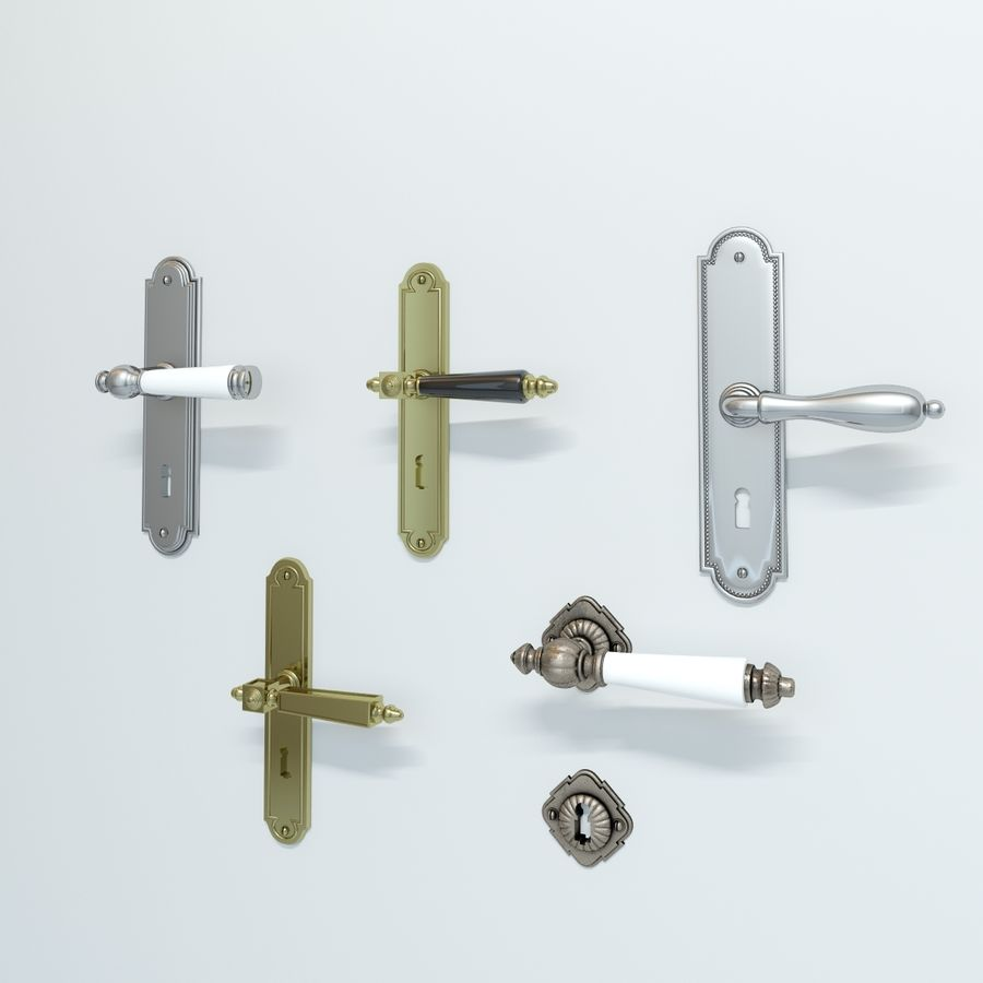 Classic Door Handles royalty-free 3d model - Preview no. 2