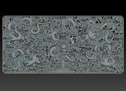 Qing-dynastie Vijf draak decoratief reliëf 3d model