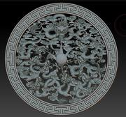 Qing nine Dragon dish relief 3d model