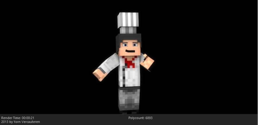 Minecraft Chef [V2.0] royalty-free 3d model - Preview no. 3