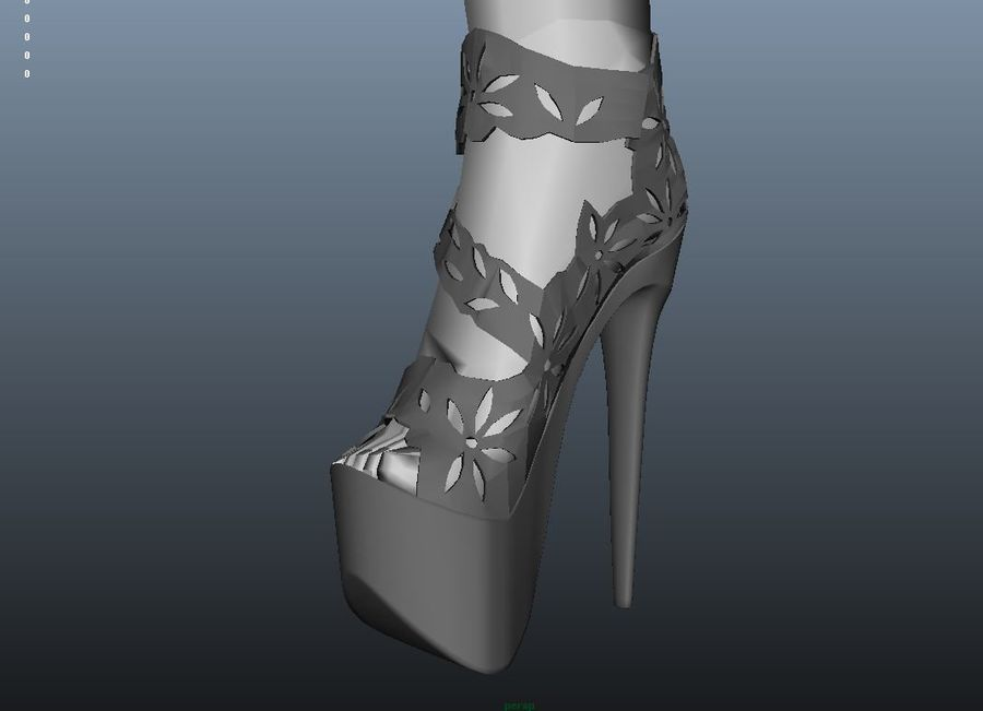 high heel shoe royalty-free 3d model - Preview no. 3
