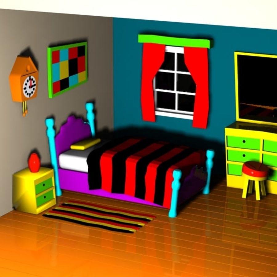 Çizgi film yatak odası iç royalty-free 3d model - Preview no. 2