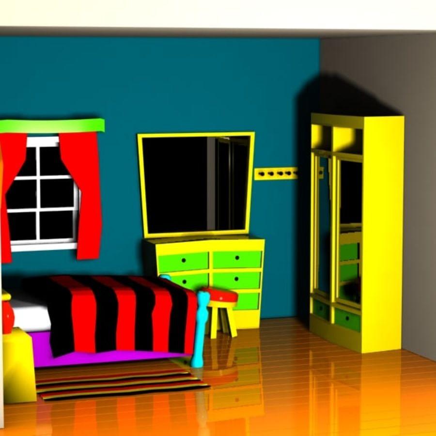 Çizgi film yatak odası iç royalty-free 3d model - Preview no. 5