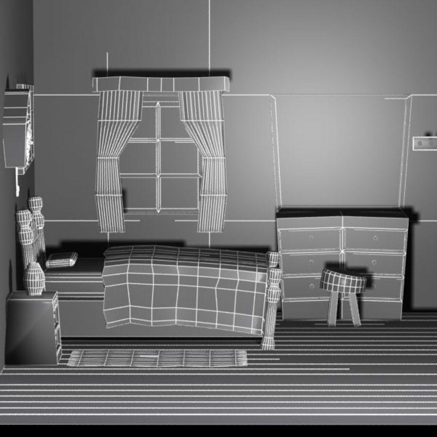 Çizgi film yatak odası iç royalty-free 3d model - Preview no. 8