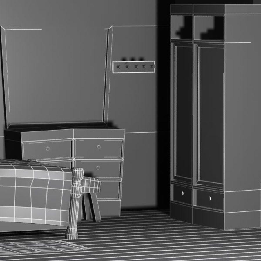 Çizgi film yatak odası iç royalty-free 3d model - Preview no. 10