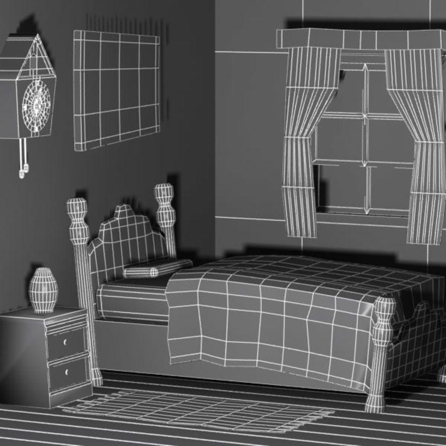 Çizgi film yatak odası iç royalty-free 3d model - Preview no. 6