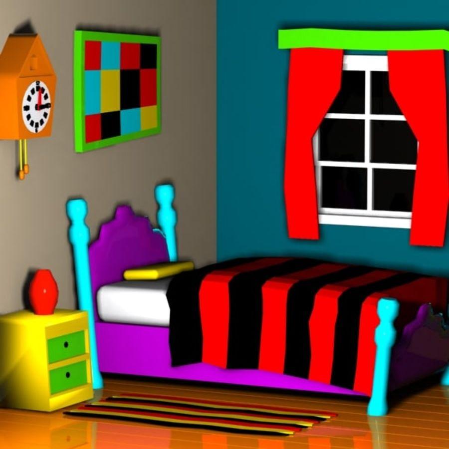 Çizgi film yatak odası iç royalty-free 3d model - Preview no. 4